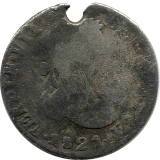1821 Mexican 2 Reale