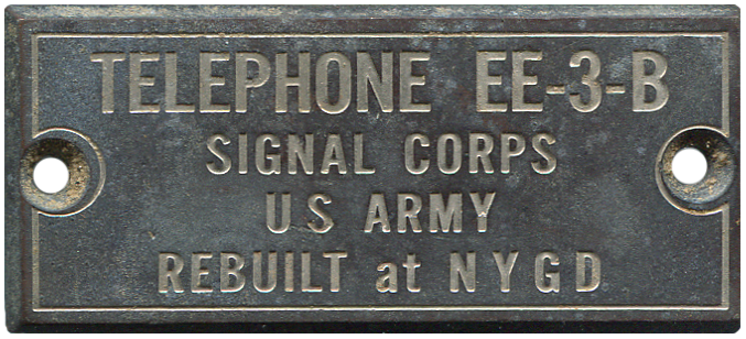 Signal Corps Field Telephone ID Plate