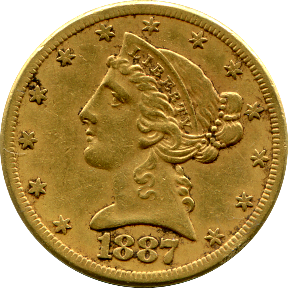 1877-S $5 Gold Coin - Obverse