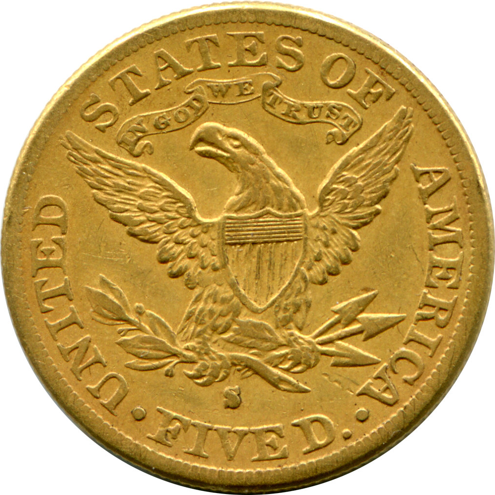 1877-S $5 Gold Coin - Reverse