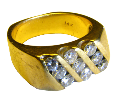 14K Gold Ring with 9 Diamonds