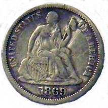 1869 Seated Liberty Dime - Obverse