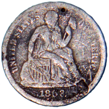 1863 Seated Liberty Dime - Obverse