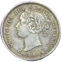 1858 Canadian Dime - Obverse