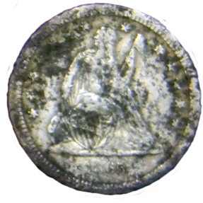 1865 Seated Liberty Quarter - Obverse