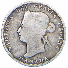 1874 H Canadian 25 Cent Obverse