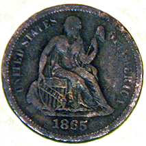 1865 Seated Liberty Dime - Obverse