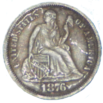 1876 S Seated Liberty Dime - Obverse