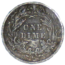 1876 S Seated Liberty Dime - Reverse