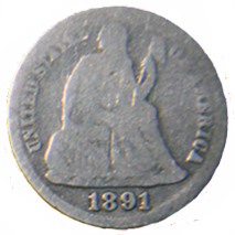 1891 Seated Liberty Dime - Obverse