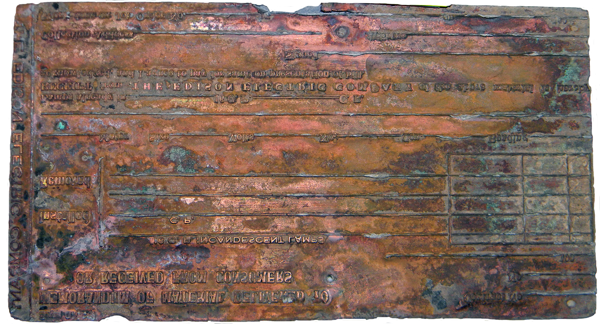 Edison Electric Printing Plate