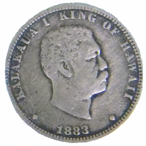 1883 Hawaiian Quarter Dollar - Obverse