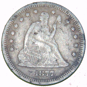 1877 S Seated Liberty Quarter - Obverse