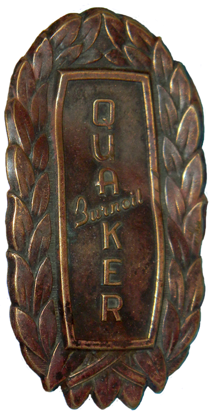 Quaker Oil Heater Badge