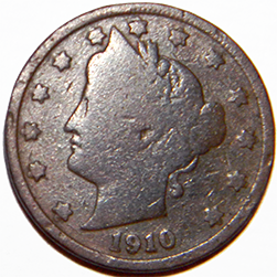 1910 V Nickel - Obverse