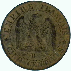 1854 French 5 Centime - Reverse