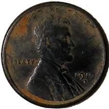 1919 S Wheat Cent - Obverse