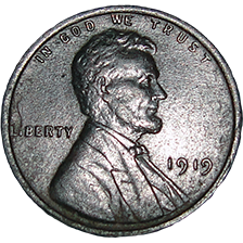 1919 Wheat Cent - Obverse