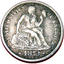 1873 Seated Liberty Dime - Obverse