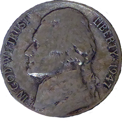 1947 D Jefferson Nickel - Obverse