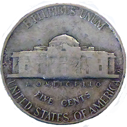 1947 D Jefferson Nickel - Reverse