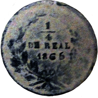 1865 Chihuahua Quarter Reale - Obverse