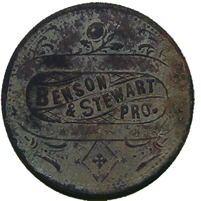 Benson and Stewart Saloon Token - Obverse