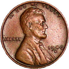 1940 S Wheat Cent - Obverse