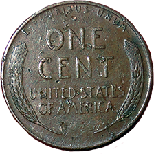 1957 D Wheat Cent - Reverse