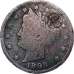 1899 V Nickel - Obverse