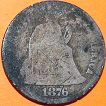 1876 Seated Liberty Dime - Obverse
